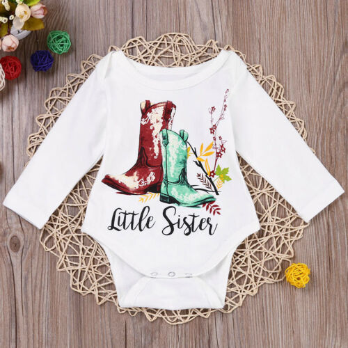 Little//Big Sister T-Shirt Outfits Family Matching Tops Newborn Baby Girl Clothes