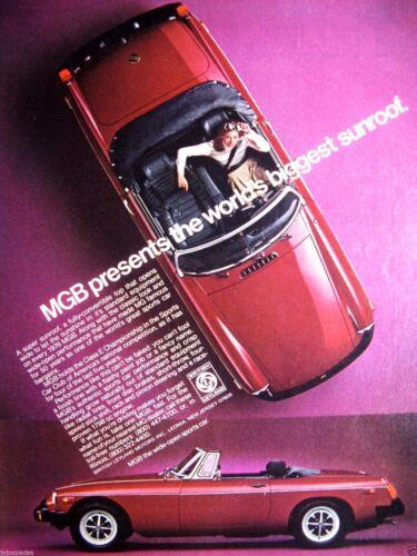 "1976 MG MGB-Girl In Red MG Convertible Original Print Ad 9 x 11/"""
