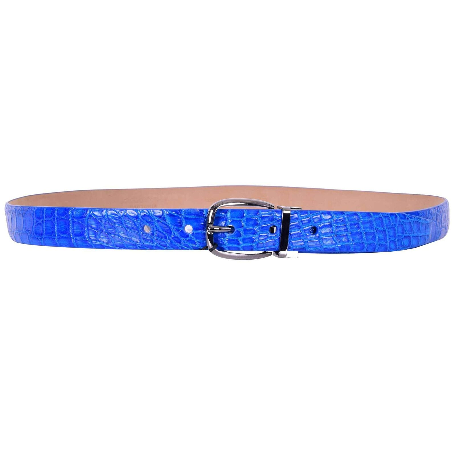 DOLCE & GABBANA SARTORIA Gürtel aus Kaiman Krokodilleder Blau Schnalle 07421