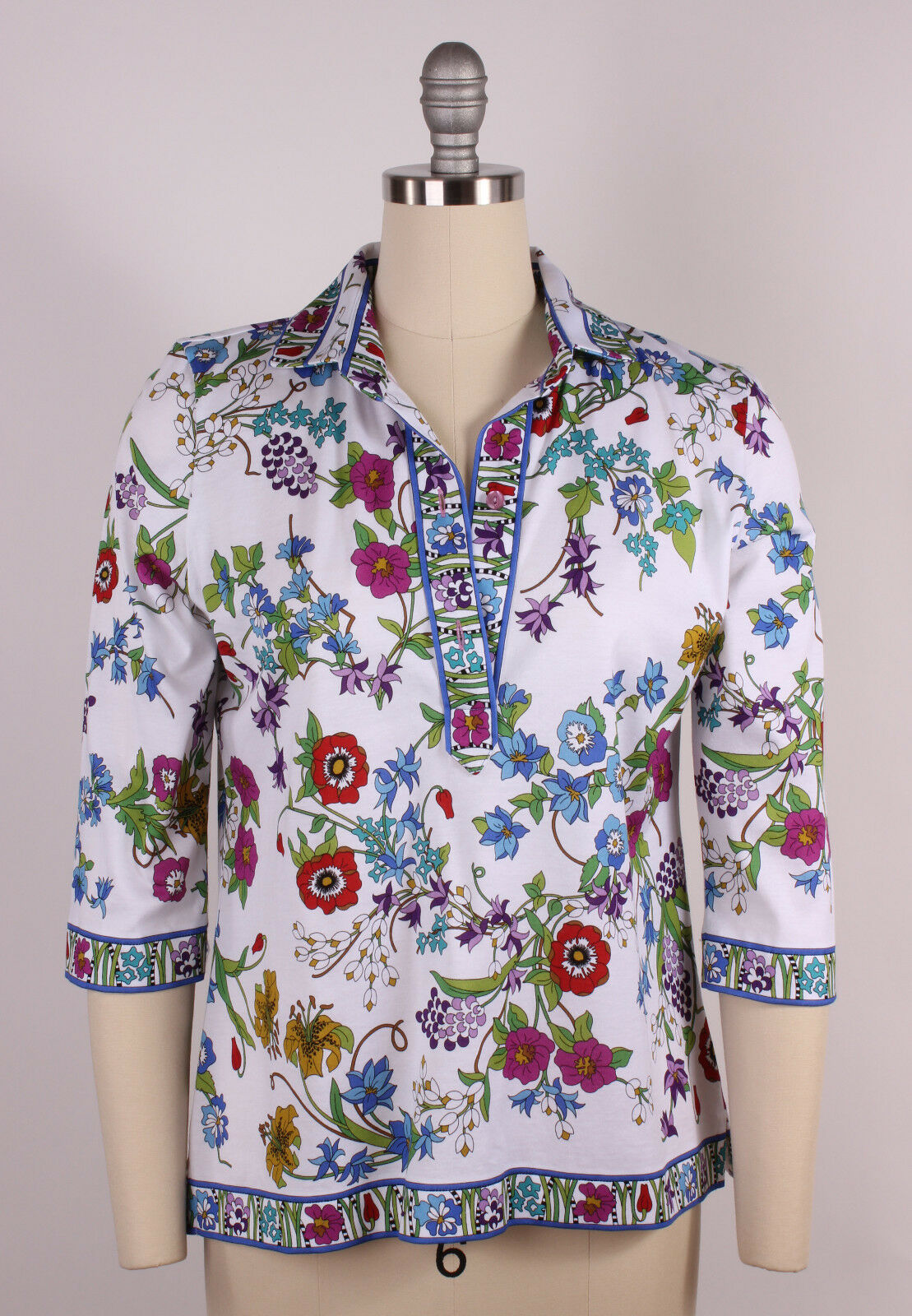 NWT Averardo Bessi Floral Print Top Blouse Made in  Small TS3916 358