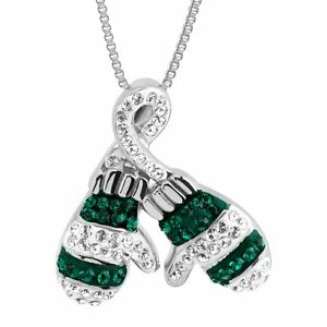Crystaluxe Striped Mittens Pendant with Swarovski Crystals in Sterling Silver