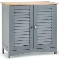 Vonhaus Towel Cabinet Floor Standing Unit 2 Shelves And Doors Bathroom Storage