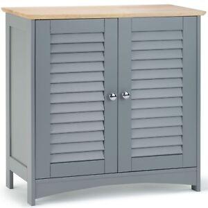Details About Vonhaus Towel Cabinet Floor Standing Unit 2 Shelves And Doors Bathroom Storage