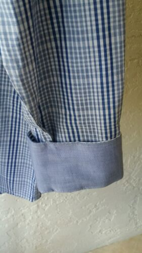REPORT COLLECTION Men/'s Shirt Reverse Cuffs Cotton Navy Blue Classic Fit NWT$98