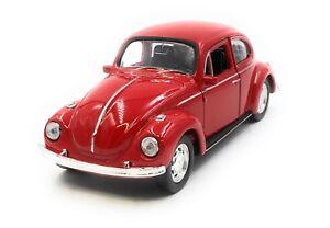 Coche-a-Escala-VW-Escarabajo-Beetle-Emb-orig-Rojo-Auto-1-3-4-39-con-Licencia