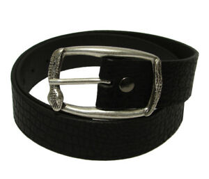 Tobacco Road Rocker Black Leather Belt Snake design Buckle, Made in USA