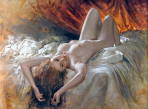 LMOP662-lie-supine-nude-girl-portrait-on-bed-hand-paint-art-oil-painting-canvas