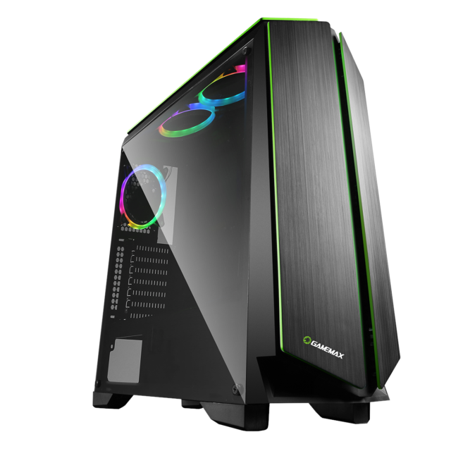 Game Max Zircon Mid Tower Gaming Case - Black USB 3.0