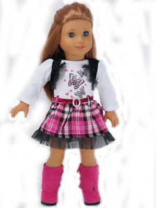 Doll-Clothes-18-034-Dress-Pink-Plaid-Butterfly-Fits-American-Girl-Dolls