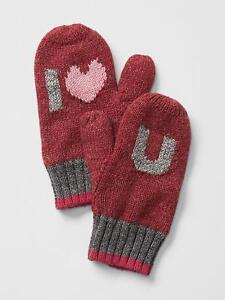 Baby Gap Intarsia I Love Heart U Red Mittens Fleece Lining Xs S 12 24 Mo Nwt $15 by Baby Gap