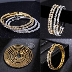 Big-Rhinestone-Crystal-Hoop-Earrings-Ear-Stud-Dangle-Jewelry-Drop-Earrings