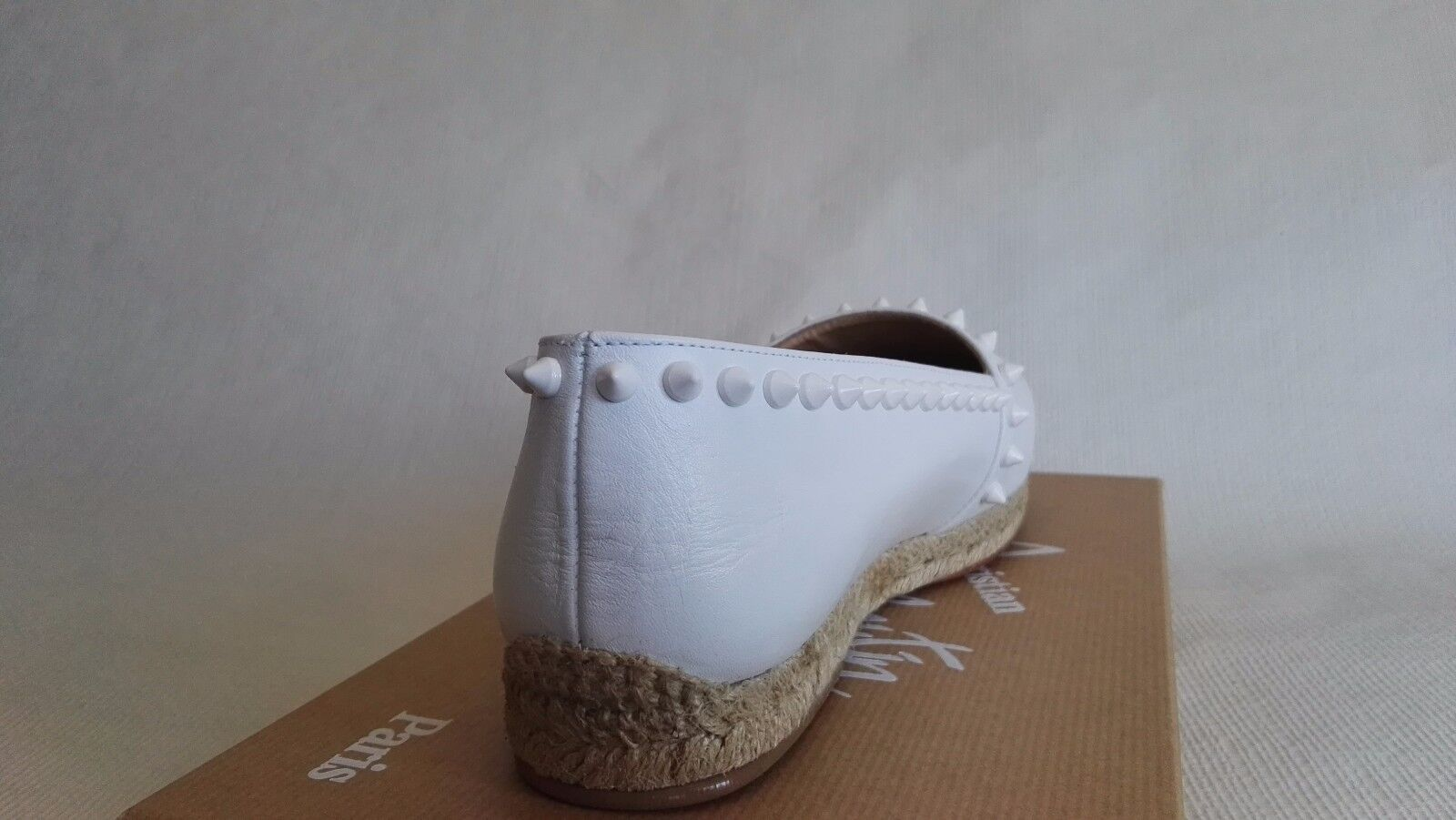 CHRISTIAN LOUBOUTIN ARES blanc 35 5 5 5 LEATHER ESPADRILLES FLATS WOMAN chaussures WINTER 16ec69