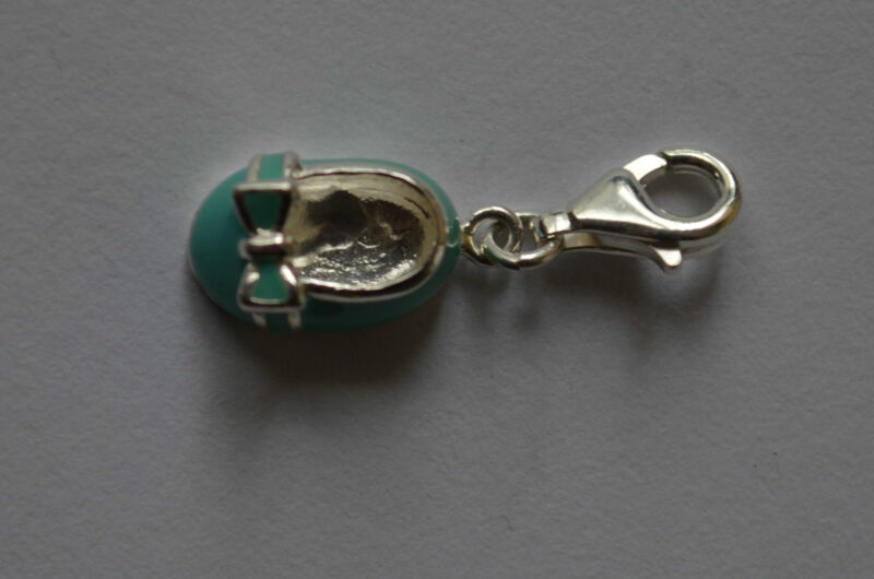 925 Sterling Silver Clip Green Small Shoes Charm Pendant Great Gift