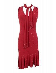 Moschino Kleid Abend Vintage Lang Strass Rot