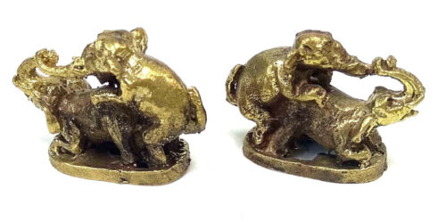 2 x Elephants Reproducing Miniture Brass figures cast in India
