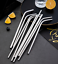 Eco Pouch Brush 7 colours Set of 4 Stainless Steel Reusable Metal Straw Kit
