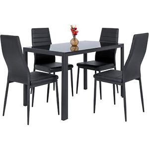 BCP-5-piezas-Juego-de-Mesa-de-comedor-con-tapa-de-cristal-sillas-de-cuero-Negro