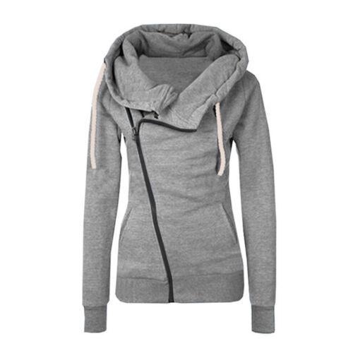 Womens Hoodie Sweatshirt Zip Up Jacket Hooded Jumper Coat Plain Top Warm Outwear