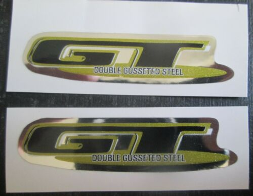 """Set of 2 /""""GT DOUBLE GUSSETED STEEL/"""" Decal Stickers BLACK//GOLD//CHROME"""