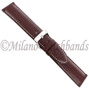 26mm-Hadley-Roma-Brown-White-Stitched-Genuine-Leather-Mens-Watch-Band-MS906