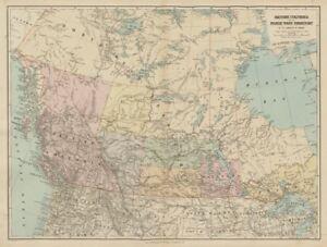 British Columbia Northwest Territory Manitoba Canada STANFORD - Old map of canada