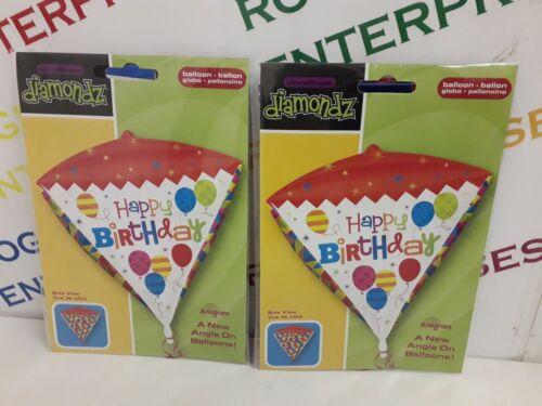 2 x Large Diamond Ultra Shape Diamondz Happy Birthday Helium Foil Gift Balloon