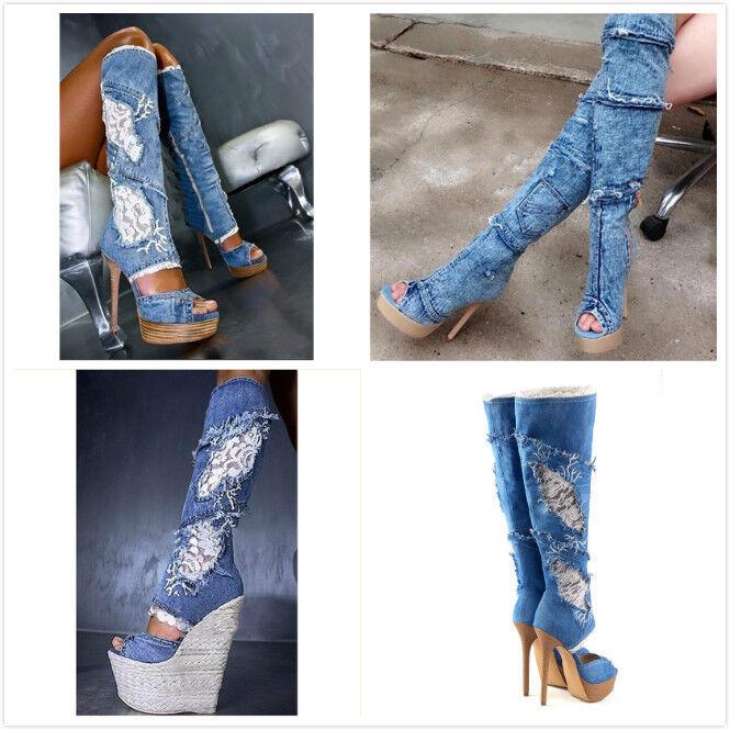 Gladiator Donna Lace Peep Toe Platform High Heels Club Denim Knee High Boots