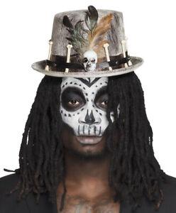 Copieux Adulte Top Hat Crâne & Os Steampunk Voodoo Plumes Homme Femme Halloween Neuf-afficher Le Titre D'origine