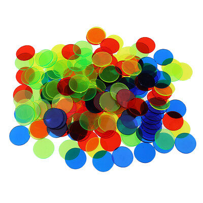 300x Plastic Bingo Chips 19mm Classroom Carnival Poker Bingo Casino Game DIY
