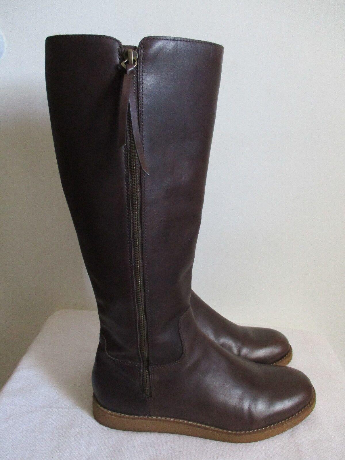 Cole Haan Auden Knee High Leder Stiefel Braun Waterproof Größe 9.5 US