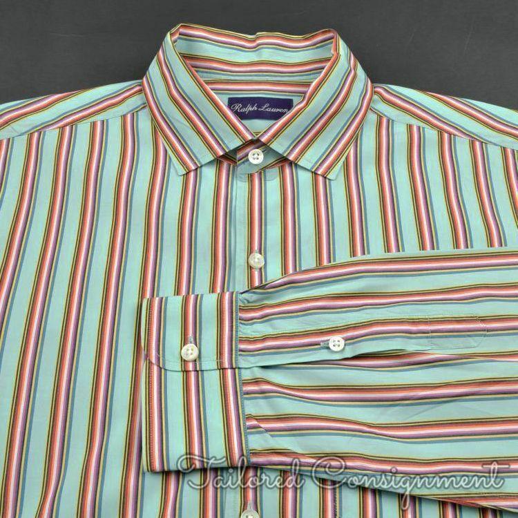 RALPH LAUREN PURPLE LABEL colorful Striped 100% Cotton Casual Dress Shirt - XL