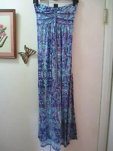 cbef0cefb19d Details about Faded Glory - Multi-color Pattern Halter Empire Waist Knit  Maxi Dress - Size S