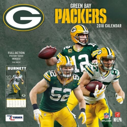 GREEN BAY PACKERS NFL 12x12 WALL CALENDAR 2018 (SEALED)