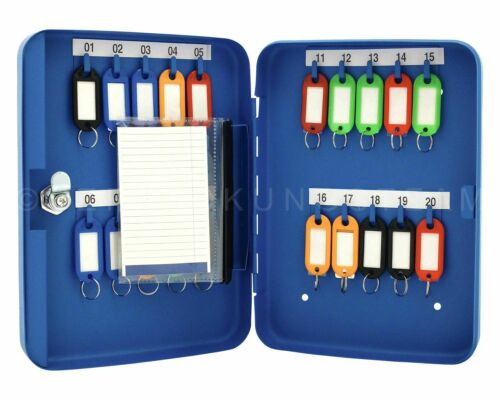 Schlüsselkasten 20 bis 108 Schlüssel Anhänger Einwurfschlitz beige blau grau