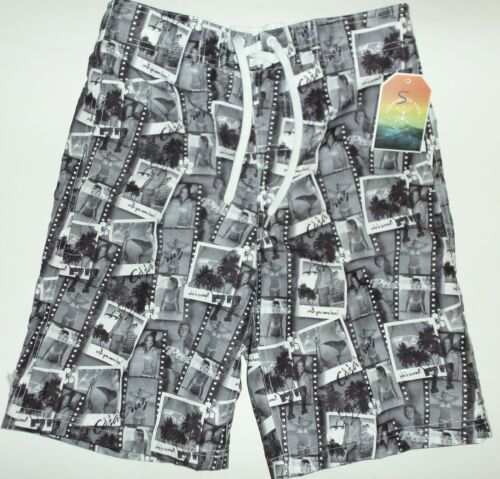 Mens White//Black Paradise Pictures Ladies in Bikini detail Board//Swim Shorts