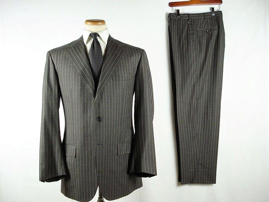 Kiton Napoli 3B Fine Wool Stripe Suit Dark grau 54 44 fits sz 42 Slim