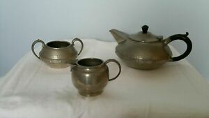Antique Pewter Tea Set Craftsman Sheffield Arts & Crafts Hammered Style Jug Bowl