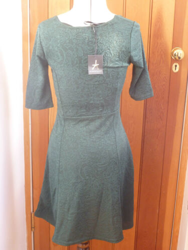 ATMOSPHERE PRIMARK FOREST GREEN LACE WEAVE STRETCH SKATER DRESS DRESS 6 8 10 NEW