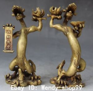 Chinese-Folk-Fengshui-Bronze-Pair-Animal-Dragon-CandleStick-Oil-Lamp-Pair-Statue
