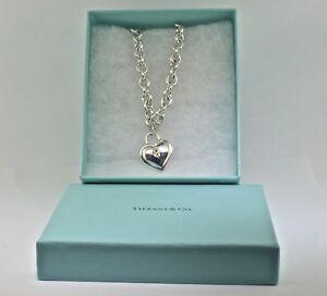 Tiffany Co Sterling Silver 18k Heart Lock Key Lock Necklace Ebay