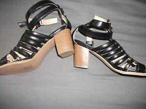 boohoo-gladiator-sandals-shoes-black-size-4-new