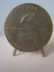 1975-Edward-Marshall-Boehm-25th-Anniversary-Bronze-Medal-WITH-STAND-ORIGINAL-a