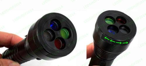 4 in1 Bianco Rosso Giallo Blu Torch 4 colore segnale Strobe AAA 18650 torcia LED