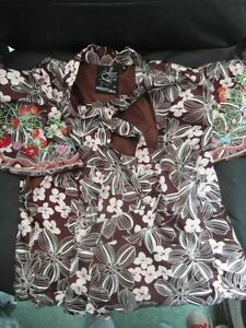 Rare-Laura-Lees-Label-Peplum-Top-BNWOT-Strawberries-embroidered-Brown-Satin-Med