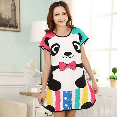 New Women Cartoon Polka Dot Sleepwear Pajamas Short Sleeve Sleepdress Sleepshirt
