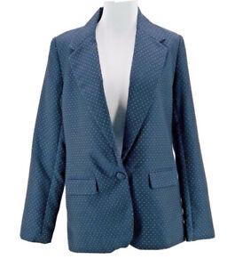 A New Day Women's Navy Gold Single Button Long Sleeve Blazer Jacket Size 4 NEW