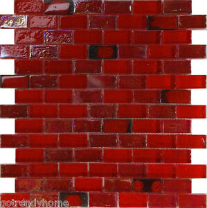 Image Is Loading 10sf Red Iridescent Gl Mosaic Tile Kitchen Backsplash