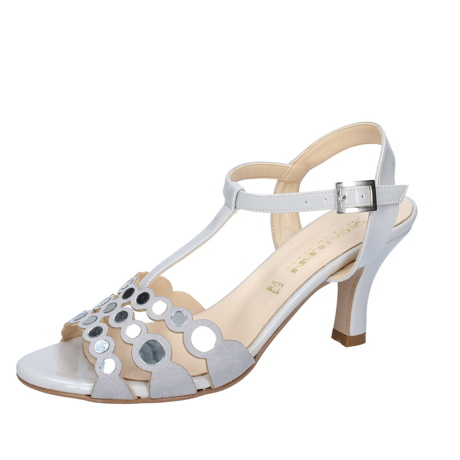 Damen schuhe OLGA RUBINI 38 EU sandalen grau wildleder lack BY354-E