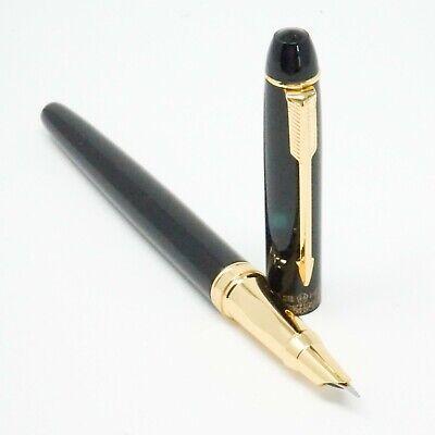 Jinhao #606 Deluxe Black Fountain Pen UK! Hooded FINE Nib Gold Trim
