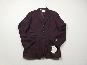 NEW-DKNY-Wool-Blazer-Womens-Size-14-Purple-Jacket-Casual-Button-Front-Ladies